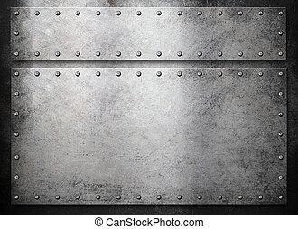 rustico, sopra, metallo, sfondo scuro, piastre