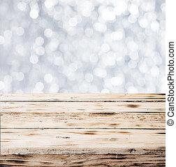 rustico, tavola, fatto, di, assi legno, in, inverno