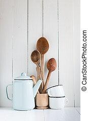 rustico, tazze caffè, smalto, cucchiai, vaso
