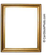 rustiek, gouden, frame, afbeelding