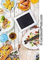 rustiek, grilled, chalkboard, vaat, tafel
