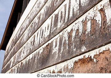 rustiek, houten, gekleed, oud gebouw