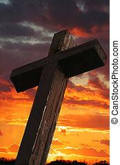 rustiek, houten, ondergaande zon , kruis, tegen