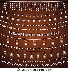 rustiek, lichten, set, touwtje