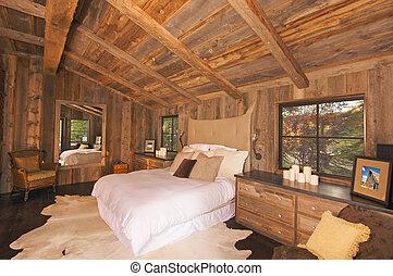rustiek, luxueus, houthakkershut, slaapkamer