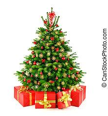rustiek, natuurlijke , kerstboom, met, kadootjes