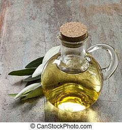 rustiek, olive, bladeren, olie, hout