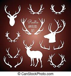 rustiek, set, antlers