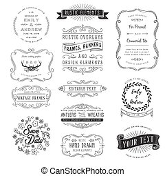 rustiek, set, clipart