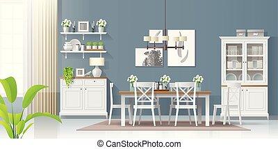 rustiek, stijl, kamer, moderne, 1, het dineren, achtergrond, interieur
