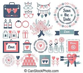 rustiek, vector, hand, tekening, trouwfeest, communie, set., floral, ouderwetse , doodles, bladeren, bloemen, en, frames., sparen, de, datum, huwlijkskaart, trouwfeest, invitation.