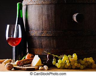 rustiek, voedingsmiddelen, rode wijn