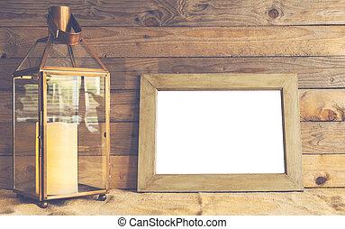 Rustiic mockup scene with frame and lantern