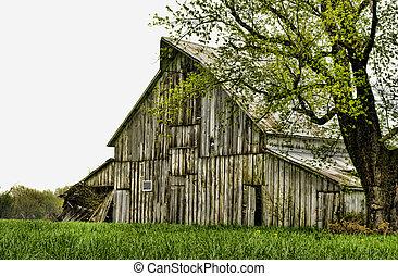 rustik, årgång, gammal, ladugård