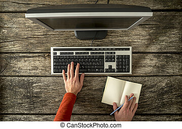 rustik, bord, dator, arbete, man