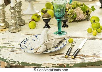 rustik, bord, middag