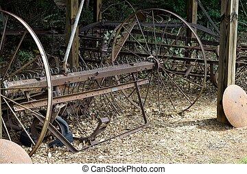 rustik, lantgård, gammal, utrustning