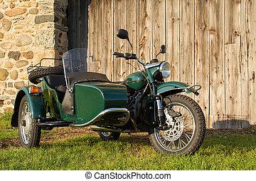 rustik, -, motorcykel, bakgrund, sidvagn