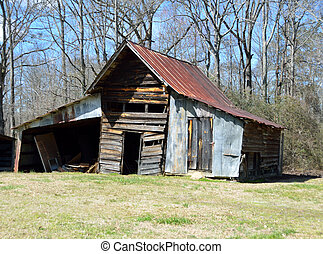 rustik, skjul, gammal, ladugård