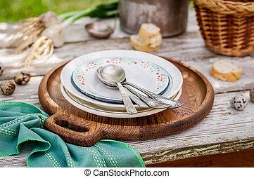 rustik, sommar, sättande tabell