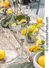 rustik, tabell sätta, trädgård