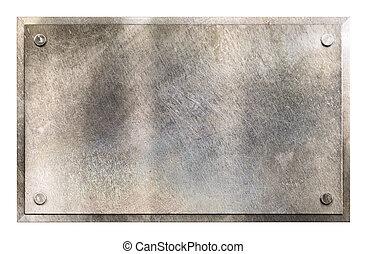 rustik, tallrik, metall, bakgrund, underteckna