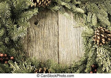 rustik, ved, krans, jul, bakgrund