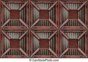 rusting crates - old rusting metal shipping or storage ...