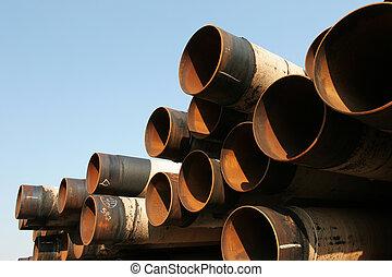 Rusting industrial steel pipes
