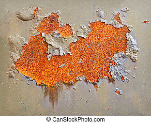 Rusting on surface of iron wall