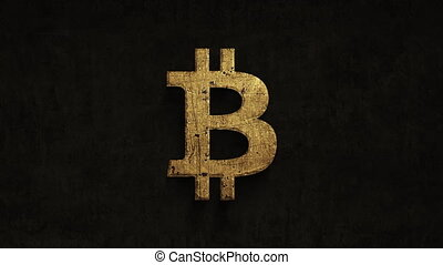 rusting over time bitcoin on a grunge background, 4k...