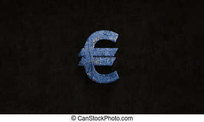 rusting over time euro sign on a grunge background, 4k...