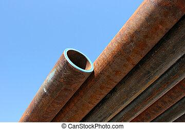 rusting steel pipes