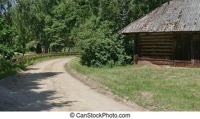 rustique, bûche, campagne, vieux, grange
