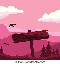 rustique, bois, étiquette, dans, les, paysage, à, oiseau