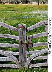 rustique, bois, portail
