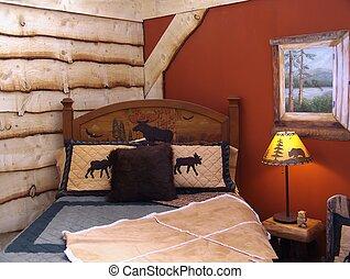 rustique, chambre à coucher