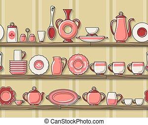rustique, cuisine, modèle, seamless