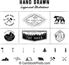 rustique, logos, illustrations