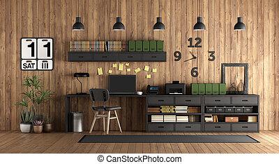 rustique, maison, style, bureau