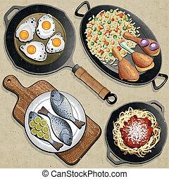 rustique, menu, illustration.