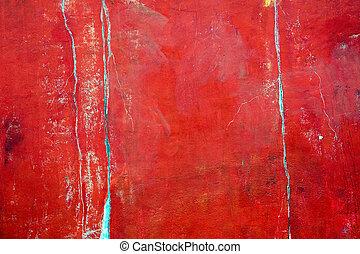 rustique, mur, plâtré, rouges
