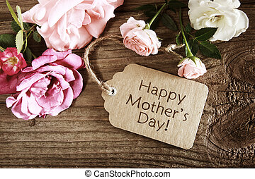 rustique, roses, jour, carte, mères