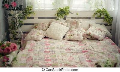 rustique, style, fleurs, lit, chambre à coucher