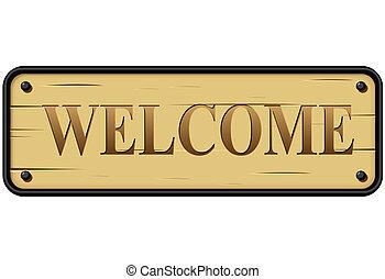 rustique, vecteur, signe bienvenu