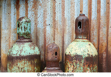 Rusty acetylene and oxygen tanks