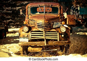 Rusty Aged Pickup Truck Abandoned in Colorado, United States.