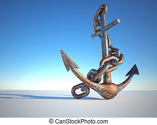 Rusty anchor - Rusty and eroded anchor with chain - 3d...