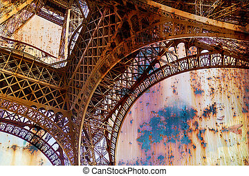 Rusty background with Eiffel tower 1
