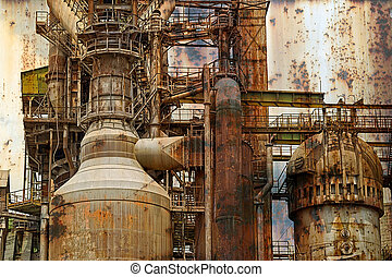 Rusty background with old steel furnace